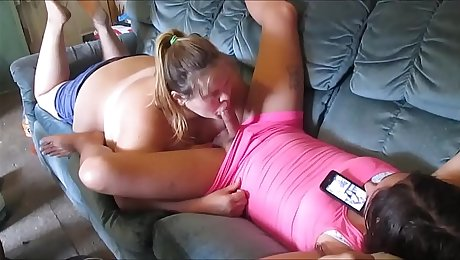 cheatting wife sucks young & hot sissy girl huge dick & swallow a mouth full of girl cum